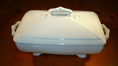 English Ironstone T & R Boote White Covered Vegetable Dish 1880s - 1910s
