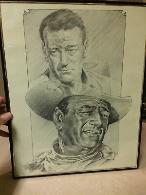 John Wayne Lithograph Drawing Sketch Poster Country Western Signed by Petronella