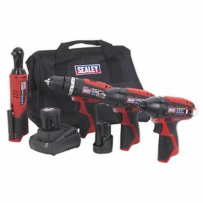 SPECIAL DEAL! Sealey CP1200COMBO 4 Piece 12v Cordless Power Tool Kit + 2 Batts