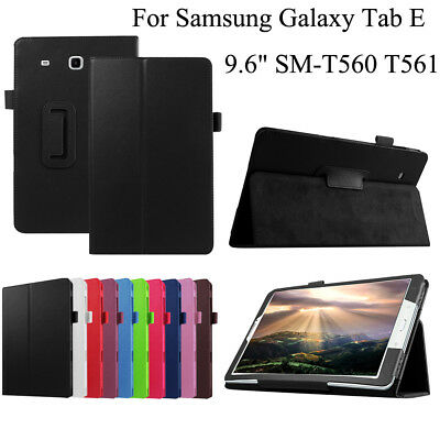 """Samsung Galaxy Tab E 9.6"""" T560 T561 Tablet Leather Slim Stand Case Cover Holder"""