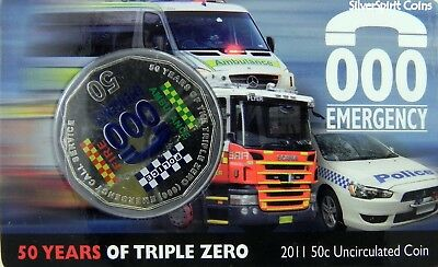 2011 TRIPLE ZERO EMERGENCY 000 Call Service Coin on Card