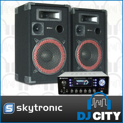 Skytec PK-XEN12AV Karaoke Party Speaker System Inc Amplifier w/ MP3 USB Player