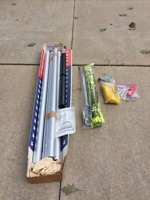 New Volleyball Court System Kit Permanent Collapsable Poles Spalding Net
