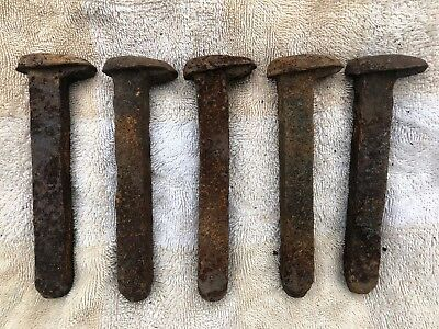 Lot Of 5 Old Railway Dog Spikes, Railroad Nails, Collectable, Decorative, Rustic