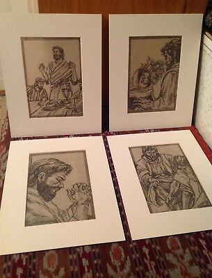 Original Art Drawings Jesus Christ Matted Pencil Signed Keese Set of 4