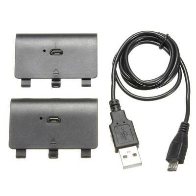 2PC 2400mAh Rechargeable Battery Pack + USB Cable Cord For Xbox One Controller