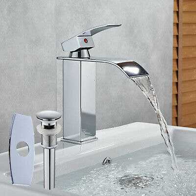 Chrome Bathroom Vessel Faucet Waterfall Basin Tap Deck Mounted With Pop Up Drain