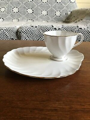 Vintage Tuscan Fine English Bone China White Tennis Set Tea Cup and Large Saucer