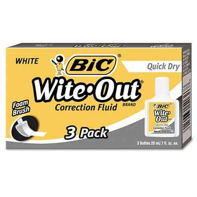 BIC® Wite-Out Quick Dry Correction Fluid, 20 ml Bottle, White, 3/ 070330506039