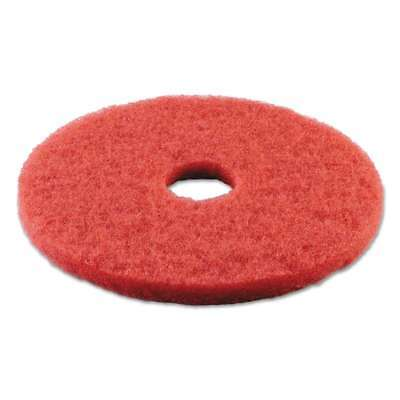 "Boardwalk® Standard Buffing Floor Pads, 14"" Diameter, Red, 5/Cart 749507986102"