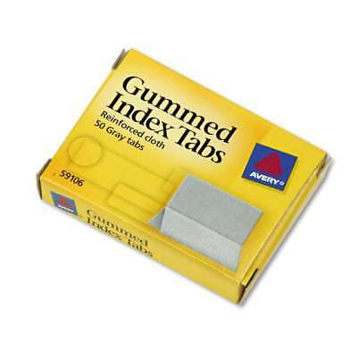 Avery® Gummed Index Tabs, 1 x 13/16, Gray, 50/Pack 072782591069