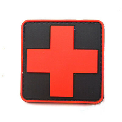 2pcs Medic Red Cross Paramedic Military Tactical Morale Hook 3D PVC Rubber Patch