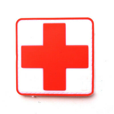 2pcs Medic Red Cross Paramedic Military Tactical Morale 3D PVC Rubber Hook Patch