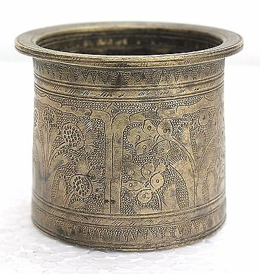 1900s Antique Beautiful Hand Carved Floral Design Cast Brass Holy Water Pot#007