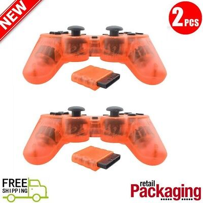 2X New Wireless 2.4GHz Twin Shock Game Controller For PS2 Clear Orange Joypad