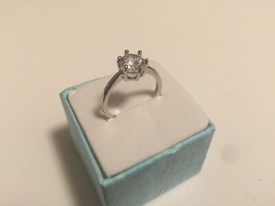 5 CT White Sapphire Claw Ring 10KT White Gold Filled Engagement Ring band Size 6