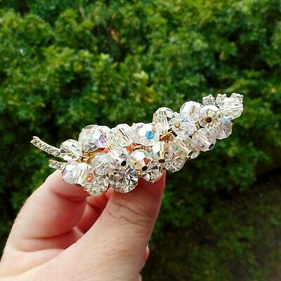 Stunning Vintage Brooch - Clear Rhinestone Paste Glass & AB Crystal Beads