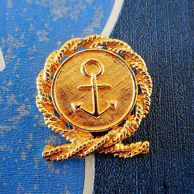 Vintage Anne Klein 80's Designer Nautical Rope & Anchor Gold Tone Metal Brooch