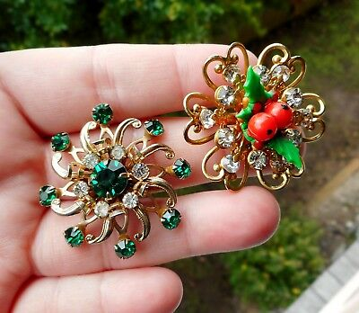 2 x Vintage 1950's Brooch - Green & Clear Rhinestone & Plastic Holly Leaf Berry