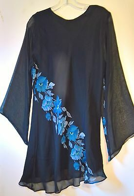 Women's   KUSHI Black and Blue Floral Tunic ~Sheer layer w SEQUINS ~  SZ 16 ~