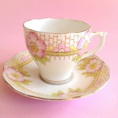 Vintage ROSLYN 1940s English Bone China ROSEA Pink Tea Cup & Saucer Duo