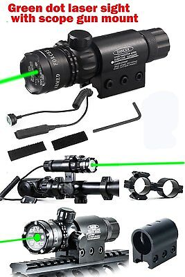 For Rifle Remote Switch 2 Mounts Tactical 532nm Green Laser Dot Scope Sight kz