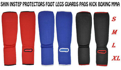 GLADIATOR Shin Instep Protectors Foot legs Guards Pads kick Boxing MMA Muay Thai