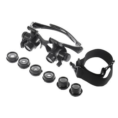 10X 15X 20X 25X LED Glasses Jeweler Magnifier Watch Repair Magnifying Loupe ^YH