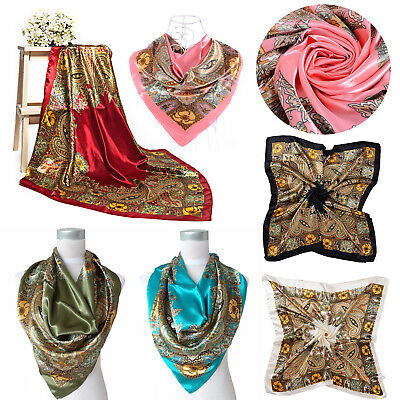 Fashion Women Square Satin Silk Scarf Scarves Bandanas Head Wrap Shawl 90x90cm