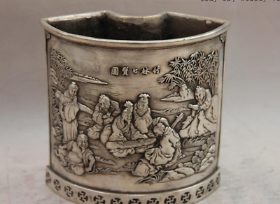 China White Copper Silver Bamboo forest 7 Sage Old People Pen Case Brush Pot
