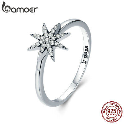 Bamoer Sparkling 925 Sterling Silver Finger Ring With CZ Star For Women Jewelry