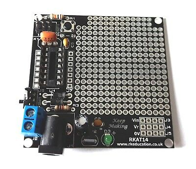 RkEducation RKAT14 Prototype PCB for Arduino/ATMEL with FREE ATTiny84 UK Seller