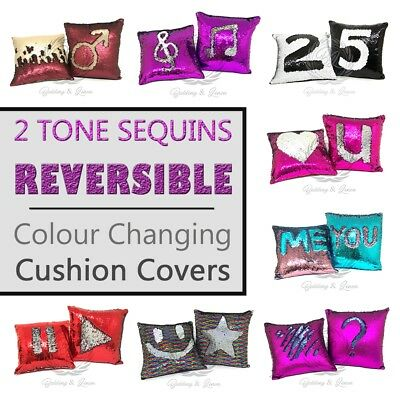 Luxury Soft Reversible Marmaid Glitter Sequines Sofa Cushion Cover, Pillow Case