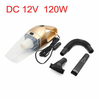 DC 12V 120W Portable Car Handheld Wet Dry Vacuum Cleaner Dust Duster Gold Tone