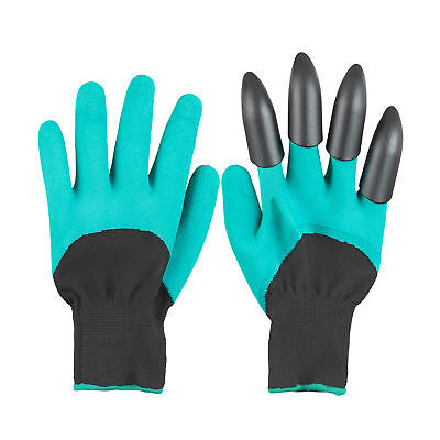 One Size Gardening Gloves Set of 2, Latex Protective Work Gloves with Claws