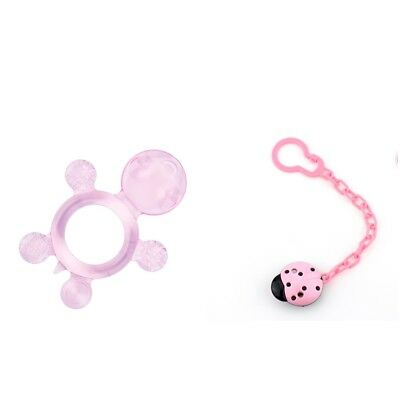 Kids Baby Boys Girls Dummy Pacifier Soother with Strap Chain Clip Holder