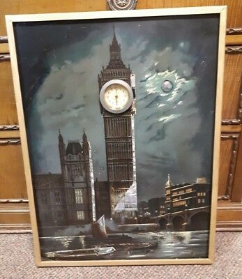 Antique c1900 Moonlit Big Ben Picture with Clock - Mother of Pearl Inlay