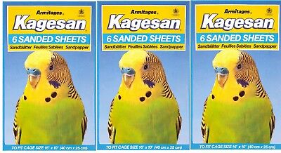 KAGESAN Blue BIRD CAGE SAND PAPER SHEETS 3X6 PACK = 18 SHEETS  40 x 25cm