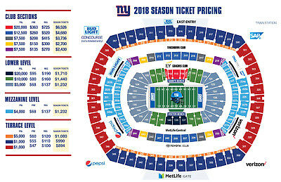 2 NY New York Giants PSL MetLife Stadium section 202A Row 5 seat 3 and 4