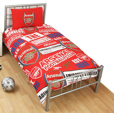 Arsenal FC Football Club Patch Single Duvet Quilt Cover Reversible Bedding Set