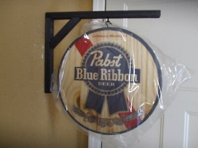 Pabst Blue Ribbon Pbr Double Sided Wooden Hanging Sign Man Cave Beer