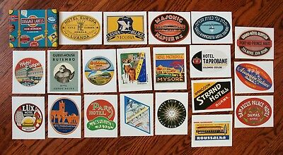 """Boxed Lot of 20 Antique-Style Exotic Hotel Travel Luggage Label Stickers 5.5"""""""