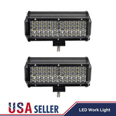 2X Quad Row 7Inch 480W 48 Led LED Work Light Bar Spot Offroad Driving 4WD Truck