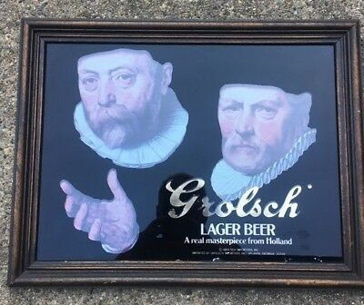 Grolsch Lager Beer A Real Masterpiece from Holland Advertising Framed Beer Sign