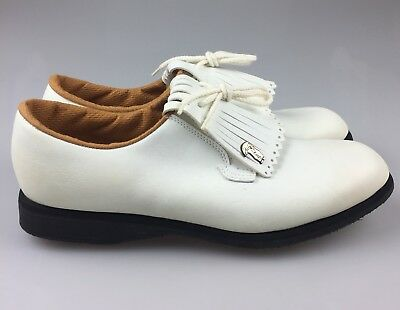 1960s Vintage Hush Puppies by WolverIne White Leather Golf Shoes USA Made 7008