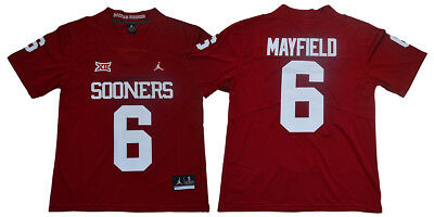 Baker Mayfield Jersey 6 Oklahoma Sooners Sewn Red White Football Jersey 3c9f0ddbc