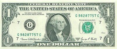 1969 series D G/C (CHICAGO) $1 Federal Reserve Note One Dollar Bill