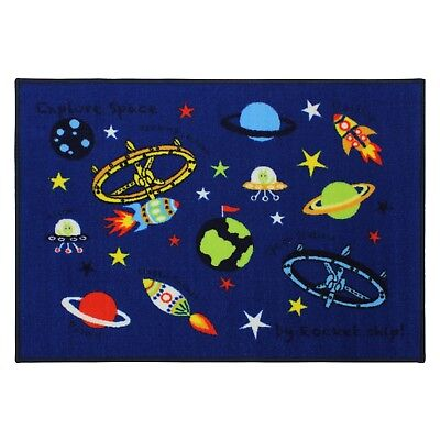 Kids Childrens Machine Washable Play Mat Carpet Rug Space Design 80 x 110 cm