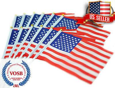 US Stick Flag - Mini American Stick Flag/Small American Flag 5 by 8 Inch 12-Pack