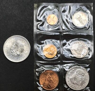 Mexican .90 Silver 5 Pesos 1948 PLUS 1964 Mexican Mint Set, free s/h